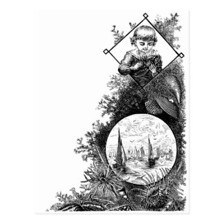 Cartão Postal Vida marinha e menino do Victorian com caranguejo
