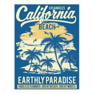 Cartão Postal Vida na praia infinita de Califórnia do verão do