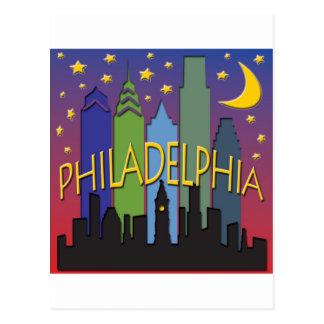 Cartão Postal Vida noturno da skyline de Philadelphfia