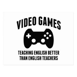 Cartão Postal Video games que ensina o inglês