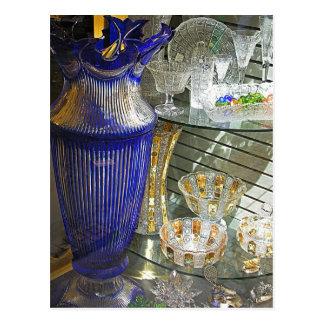 Cartão Postal Vidro boémio azul
