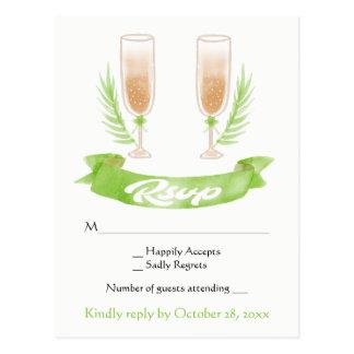 Cartão Postal Vidros verdes de Champagne da aguarela de RSVP que