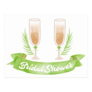 Cartão Postal Vidros verdes de Champagne do chá de panela da