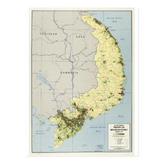Cartão Postal Vietnam sul mapa setembro de 1972