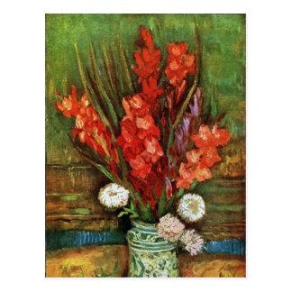 Cartão Postal Vincent van Gogh - vaso com tipos de flor