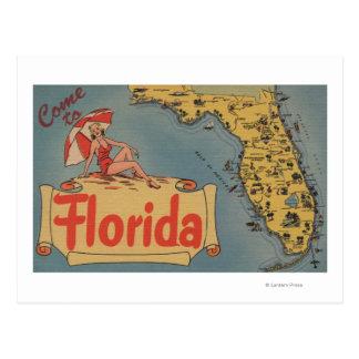 Cartão Postal Vindo ao mapa de Florida do estado, menina