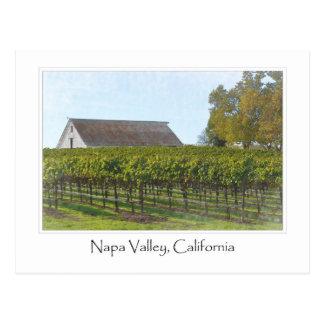 Cartão Postal Vinhedo e celeiro de Napa Valley Califórnia