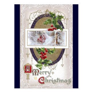 Cartão Postal Vinheta do natal vintage com azevinho