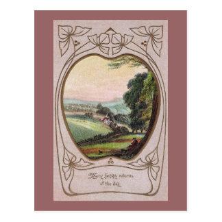 Cartão Postal Vinheta do vale do aniversário de Nouveau da arte