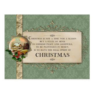 Cartão Postal Vinheta do verso do Natal e do inverno do vintage