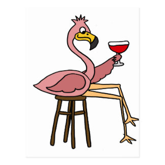 Cartão Postal Vinho tinto cor-de-rosa engraçado do bebendo do