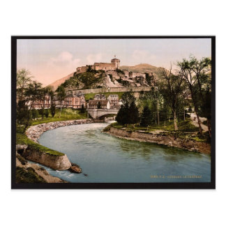 Cartão Postal Vintag do castelo e do rio, Lourdes, Pyrenees,