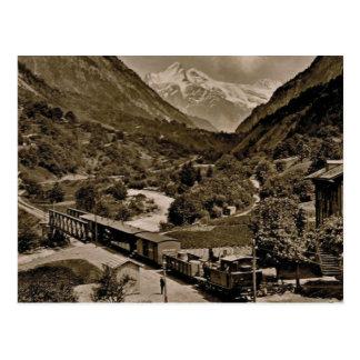 Cartão Postal Vintage, 1890, trem Railway em Grindelwald