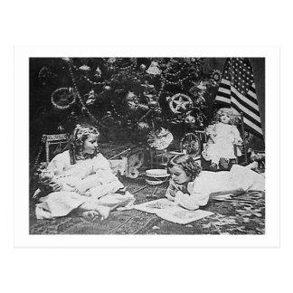 Cartão Postal Vintage 1901 da manhã de Natal Stereoview