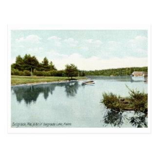 Cartão Postal Vintage 1910 do lago belgrade, Maine