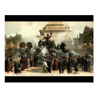 Cartão Postal Vintage 1915 de France do Bordéus da estátua de