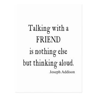 Cartão Postal Vintage Addison que fala citações da amizade do
