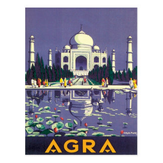 Cartão Postal Vintage Agra Taj Mahal India