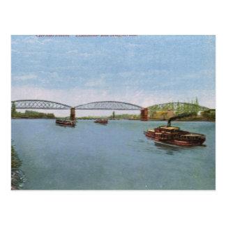 Cartão Postal Vintage Alemanha, Germersheim, navio a vapor