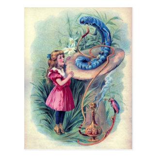 Cartão Postal Vintage Alice na ilustração do país das maravilhas
