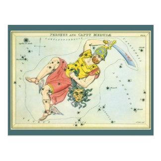 Cartão Postal Vintage Astonomy, Perseus e Medusa da cabeça