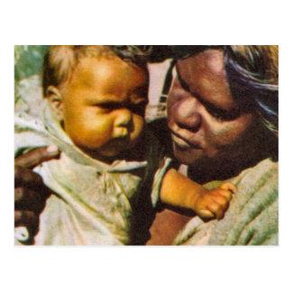 Cartão Postal Vintage Austrália, Austrália, família nativa