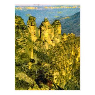 Cartão Postal Vintage Austrália, Austrália, três rochas das