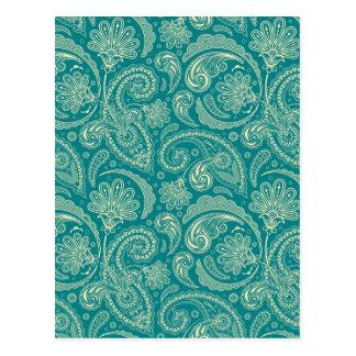 Cartão Postal Vintage azul esverdeado e bege Paisley do creme