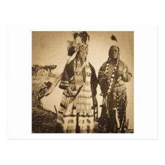 Cartão Postal Vintage Blackfoot do chefe e do guerreiro de