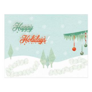 """Cartão Postal Vintage """"boas festas!"""" paisagem"""