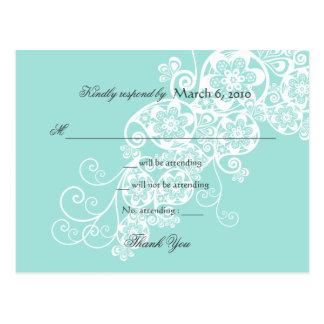 Cartão Postal Vintage Boho elegante Paisley floral que Wedding