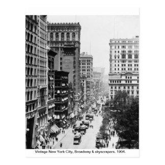 Cartão Postal Vintage Broadway, Nova Iorque 1904,