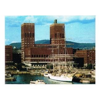 Cartão Postal Vintage câmara municipal de Noruega, Oslo, Porto,