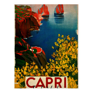 Cartão Postal Vintage Capri L'Isola del Único Italia