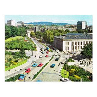 Cartão Postal Vintage centro de cidade 1960 de Noruega, Oslo