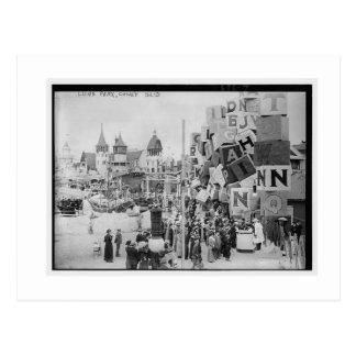 Cartão Postal Vintage Coney Island, Luna Park