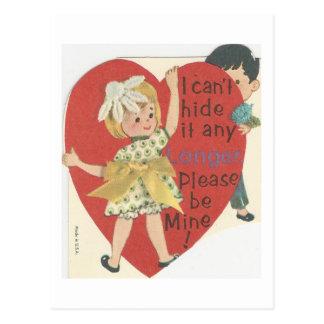 """Cartão Postal Vintage """"couro cru - e - procure"""" namorados"""