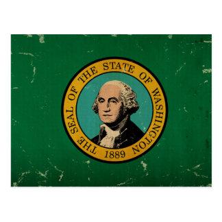 Cartão Postal VINTAGE da bandeira do estado de Washington