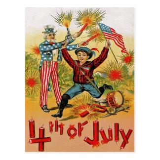 Cartão Postal Vintage da criança dos fogos-de-artifício do tio