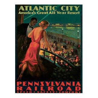 Cartão Postal Vintage da estrada de ferro de Atlantic City