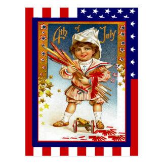 Cartão Postal Vintage da réplica 4o julho, menino com canhão do