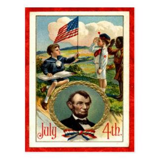 Cartão Postal Vintage das crianças de Abraham Lincoln 4o julho
