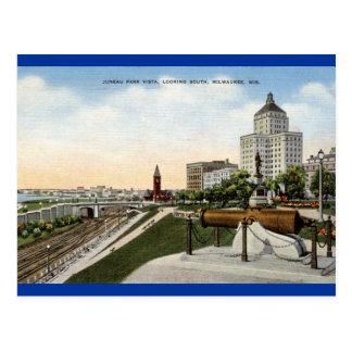 Cartão Postal Vintage de Milwaukee Wisconsin do parque de Juneau