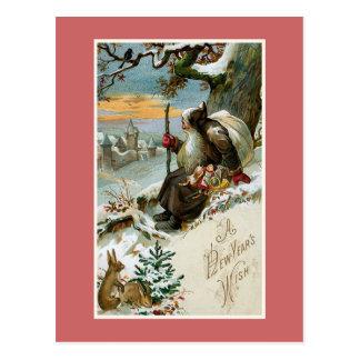 """Cartão Postal """"Vintage de um desejo de ano novo"""""""