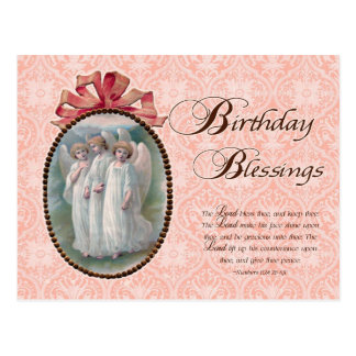 Cartão Postal Vintage do anjo das bênçãos do aniversário