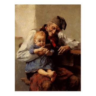 Cartão Postal Vintage do avô e da criança da pintura
