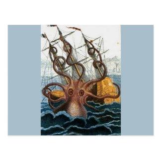 Cartão Postal Vintage do polvo de Kraken Steampunk