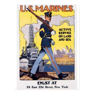 Cartão Postal Vintage do poster dos fuzileiros navais WWI dos