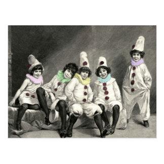 Cartão Postal Vintage do traje do carnaval das crianças de