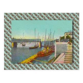 Cartão Postal Vintage Egipto, Cairo, ponte e barcos de navigação